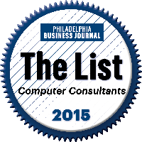 Philadelphia Business Journal Top Computer Consultants 2015 logo.