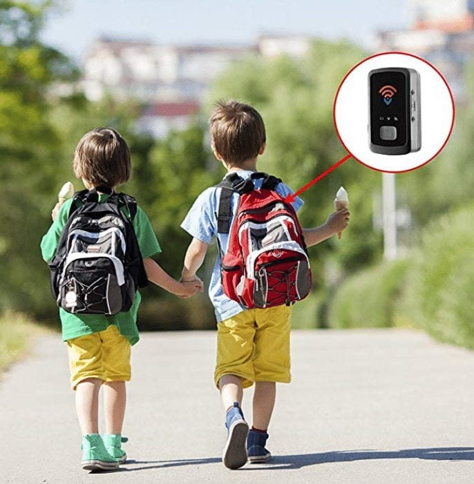 Two children walking with ice cream cones and with the Spy Tec STI GL300 Mini Portable Real Time Personal and Vehicle GPS Trackerin one of the backpacks