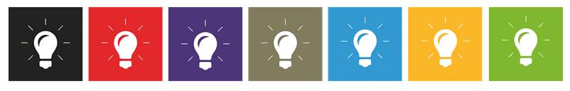 Colorful lightbulb idea banner