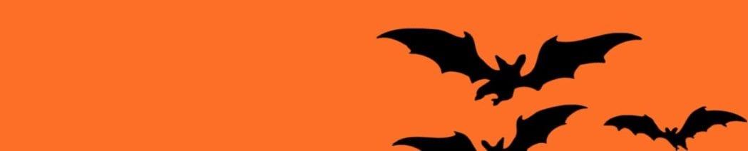 Halloween bats flying through the air