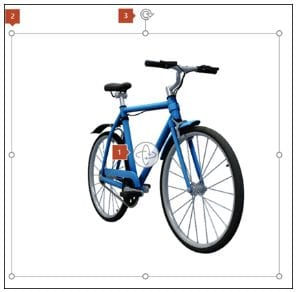 Image of a blue bicycle. In Microsoft Word you can embed an image of a 3D object