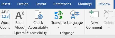 Let Microsoft Word and Outlook read to you by selecting the Read Aloud option