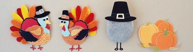 Felt Thanksgiving turkeys and pumpkins