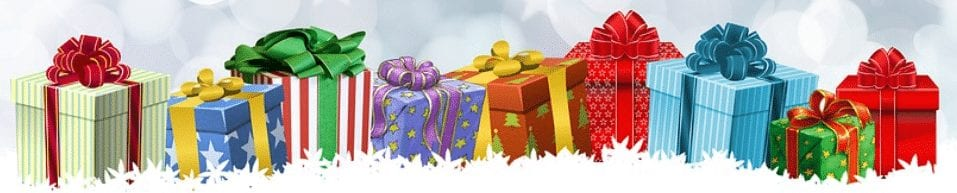 Tech gifts wrapped in colorful patterned wrapping paper.