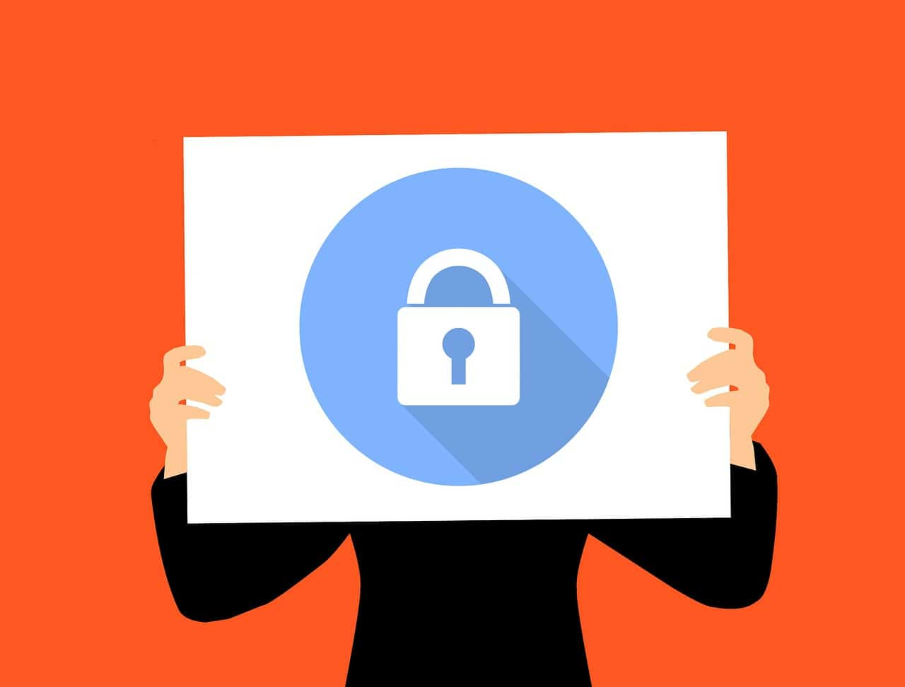 Illustration of a person holding a security symbol. Keeping your server updated is essential for security.