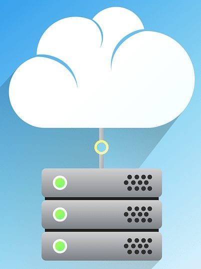 Illustration of a server stack connected to the cloud