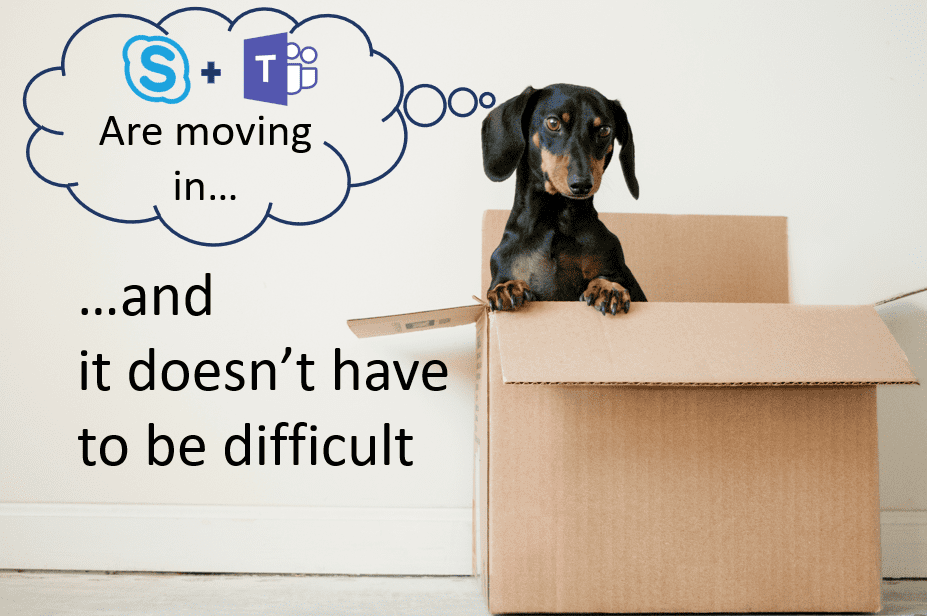 "Puppy in a box with thought bubble: ""Skype and Microsoft Teams are moving in"""