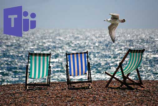 Three beach chairs along the shore, illustrating working remotely from the beach with your team