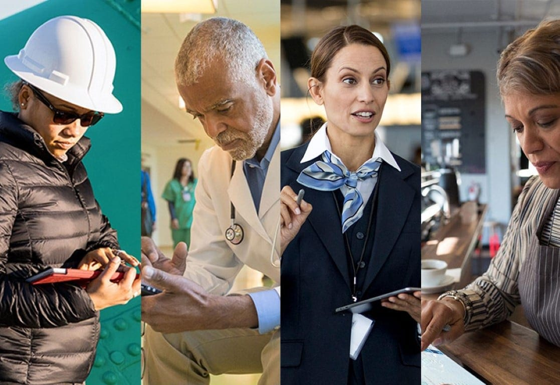 Four first line workers who rely on high productivity: contractor, doctor, airline attendant and a dispatcher