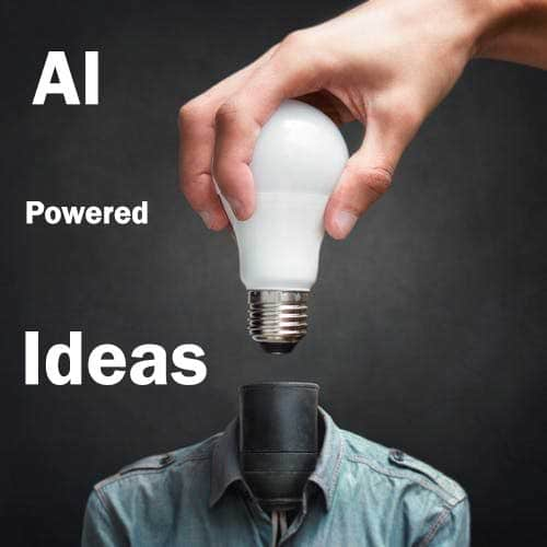 Lightbulb being added to a lamp stand dressed as a person, symbolizing AI powered ideas.