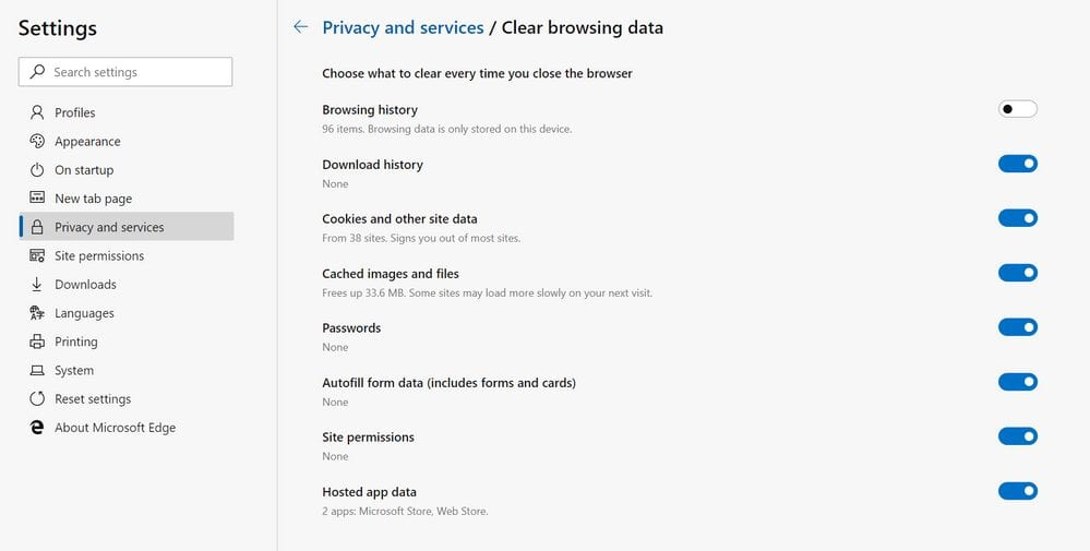 Microsoft Edge privacy and Service settings