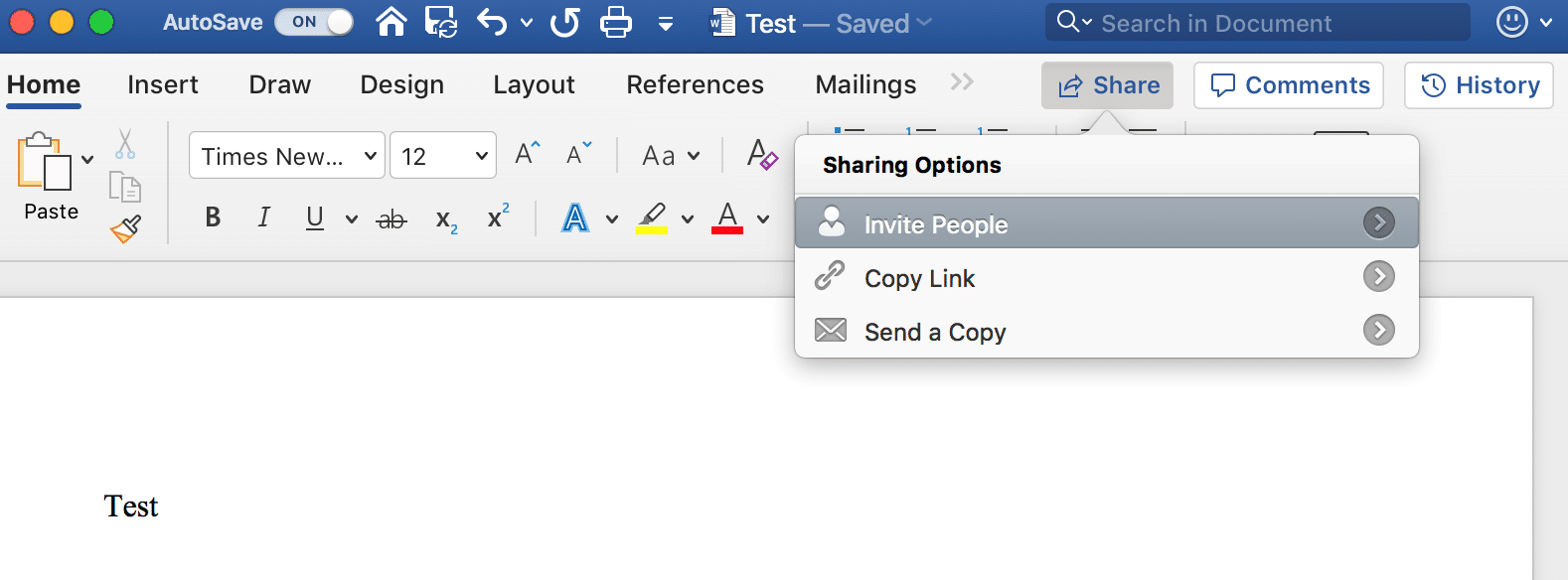 "Use ""Sharing Options"" to invite people to work on your shared Microsoft Word documents"