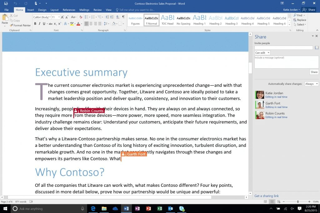 When others accept your invite to collaborate on a shared Microsoft Word doc, they can start working on the shared doc immediately. You will also see who is working inside the document and where they are contributing in real-time.