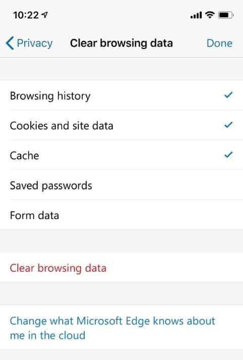 Clear Microsoft Edge browsing data