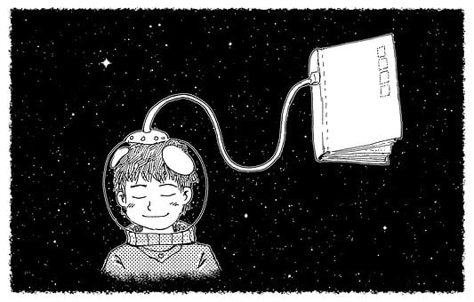 Illustration of an astronaut reading a book by osmosis, symbolizing online reading should not be hard.