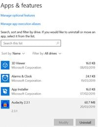Use the Apps & features menu from Windows 10 to uninstall a program.
