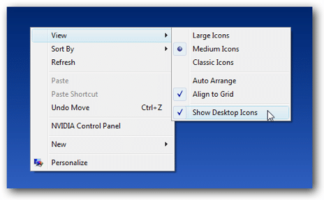 In Windows 10, simply click Show Desktop Icons once to show and once to hide.