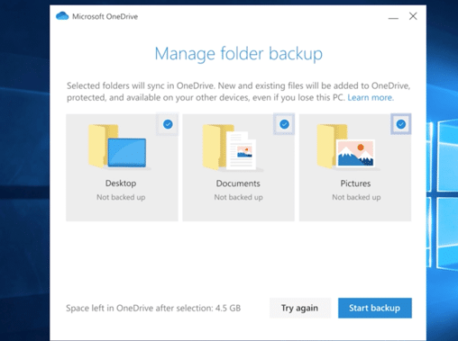 Microsoft OneDrive enables you to select folders from desktop, documents or pictures to backup.
