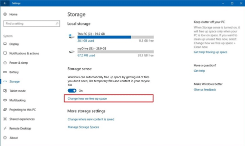 "To specify which files you would like to delete, click on the ""Change how we free up space link"" in Windows 10."