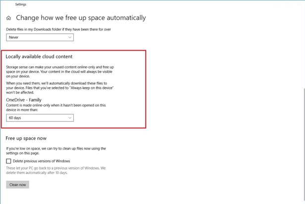Save space by making OneDrive files on-demand. To make this selection, navigate to Storage space in Windows 10.