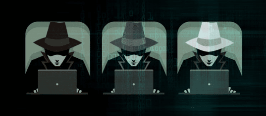 Illustration of black hat, grey hat and white hat hackers.