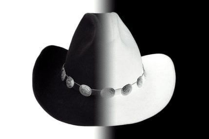 A grey cowboy hat, symbolizing a grey hat hacker.