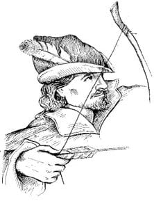 Sketch of Robin Hood, symbolizing a red hat hacker.