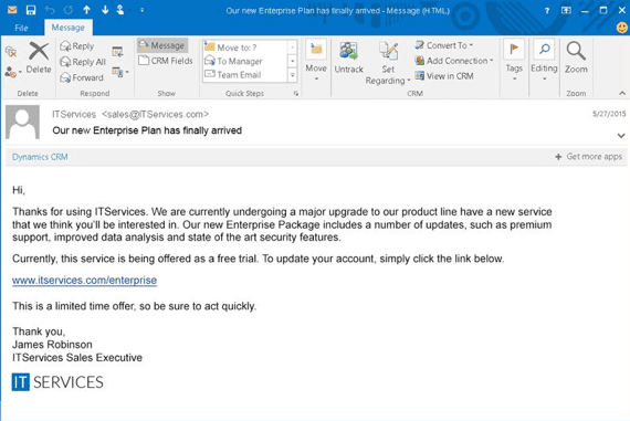 Example of a Spear Phishing email. Spear phishing always targets a specific person or organization.