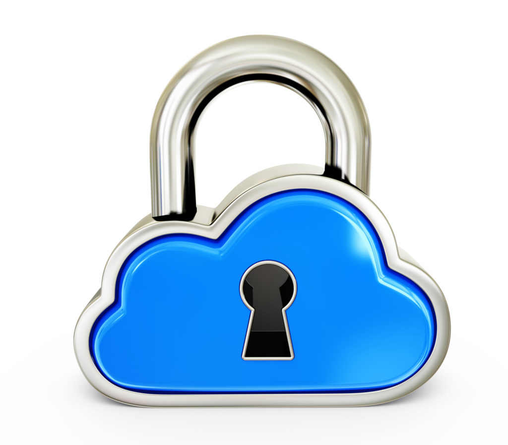 Padlock shaped like a cloud symbolizing the security of the Cloud for data storage.