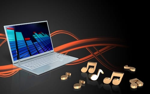 Musical notes flying from a computer. With Microsoft Teams, you can easily share video and audio clips with meeting participants.