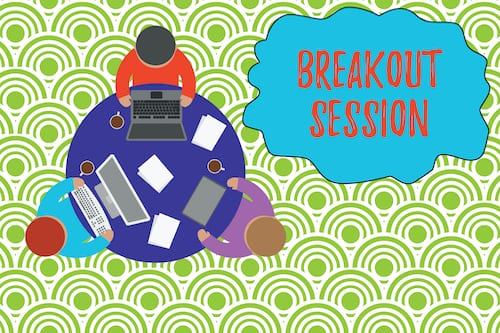 Illustration of a breakout session. There is a simple workaround to manually set up multiple virtual breakout sessions in Microsoft Teams.