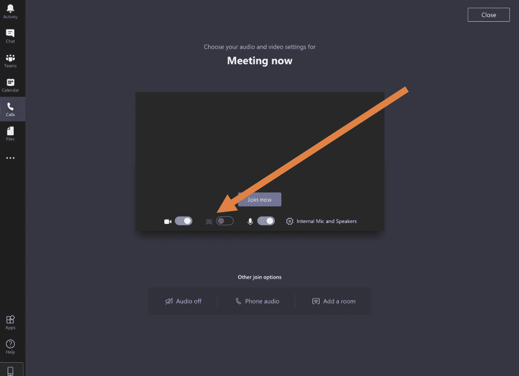 Microsoft Teams meeting dashboard with background effects icon.