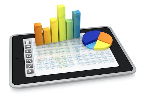 Tablet with spreadsheet and charts and graphs. Advanced features in Excel make it very easy to add tables and graphs to a spreadsheet.