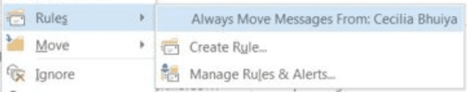 Select Always Move Messages From option in Microsoft Outlook