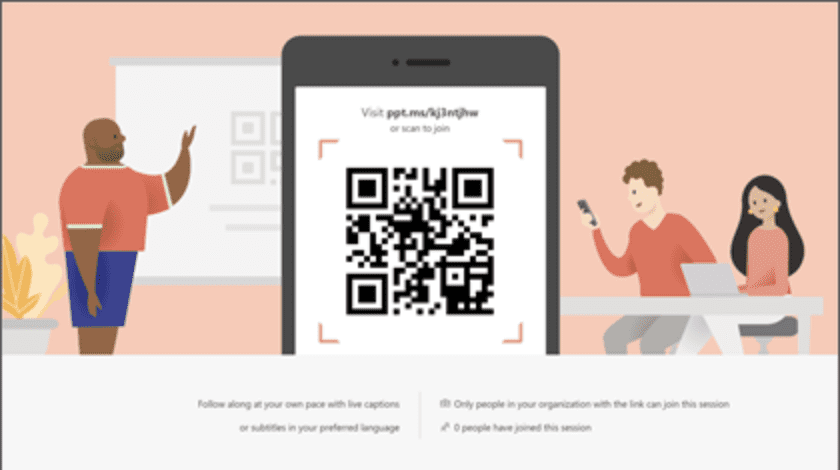 Microsoft PowerPoint Live QR code.