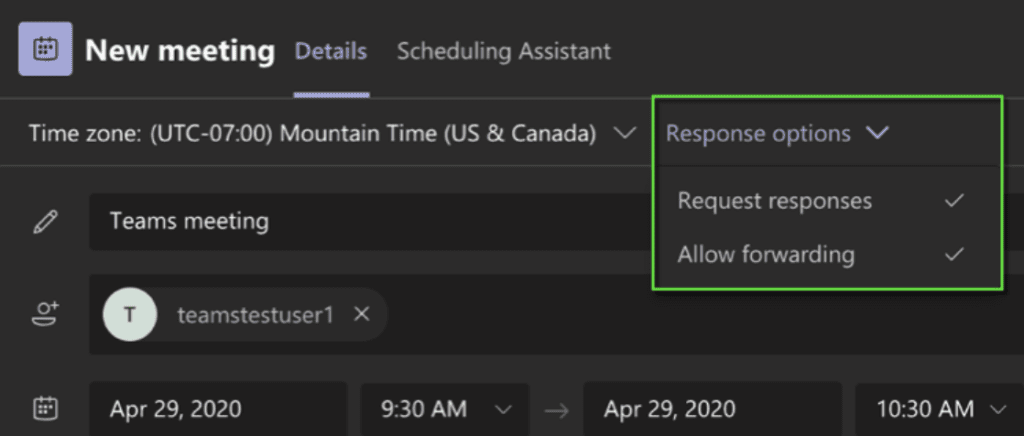 With Microsoft Teams, the meeting organizer can control the response collection and forwarding of meeting invitations to other users when scheduling a meeting.