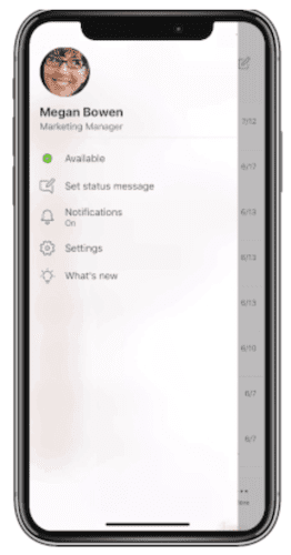 Microsoft Teams notifications settings on a mobile phone.