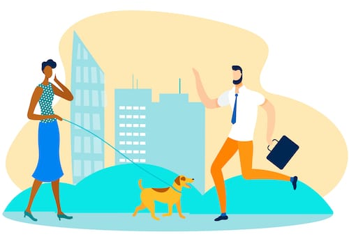 Businesswoman walking her dog while participating in a Teams meeting on her mobile phone.