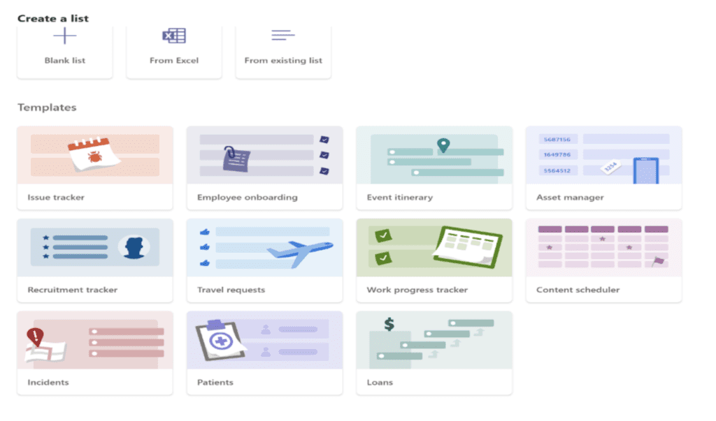 Lists templates in Microsoft Teams
