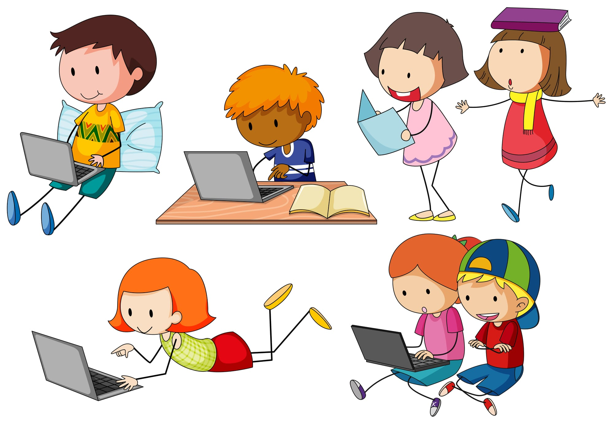 Kids with tablets and laptops