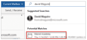 Microsoft Outlook search with meeting suggestions.