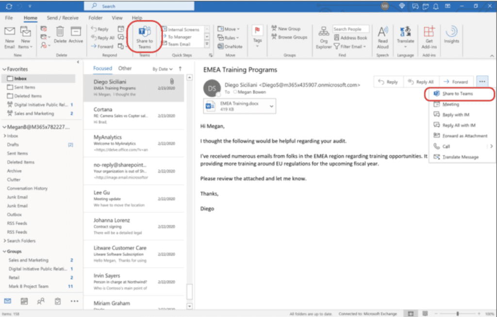 Pin the Share to Teams option to the ribbon in Outlook to easily share emails in Teams.