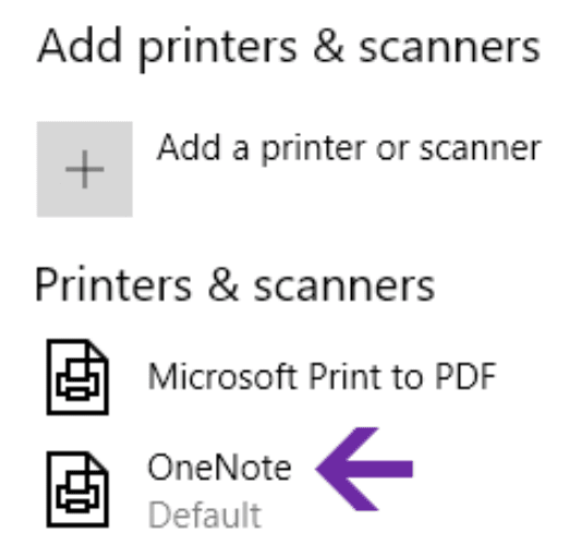 Windows 10 settings, you can set OneNote as your default printer.