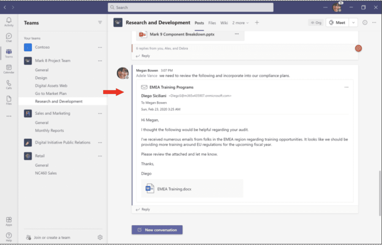 To open and view the full contents of the email in Teams, select the email preview in the message sent to the chat or channel conversation.