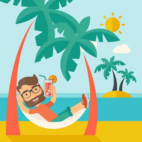 Manager on vacation - relaxed because his Teams out of office status message is on.