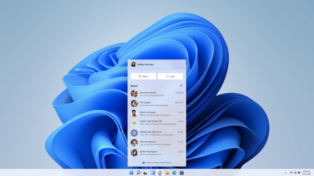 Microsoft Teams integration in the Windows 11 taskbar.