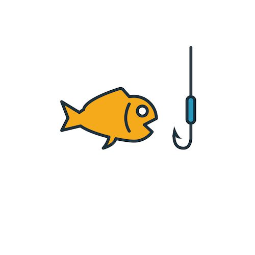 Fish and hook, symbolizing phishing - a cybercrime that can result in identity theft and financial loss.