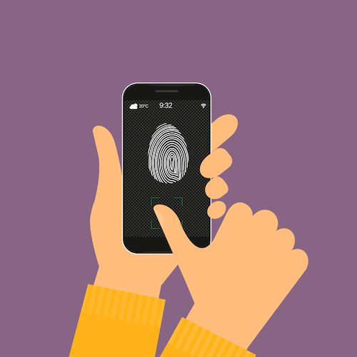 Fingerprint scan on a smartphone can be used for multifactor authentication.